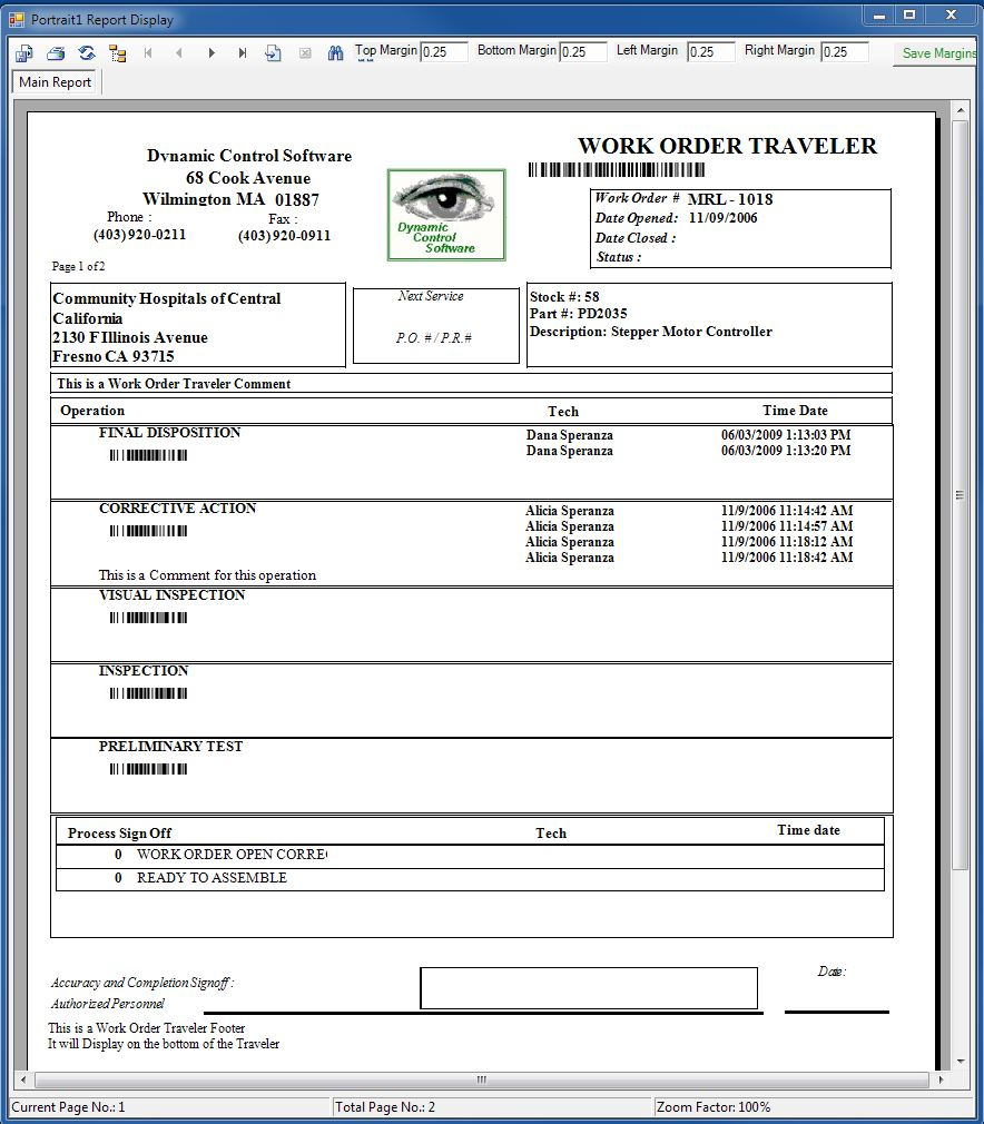 Manufacturing Work Order Traveler - Production work order template