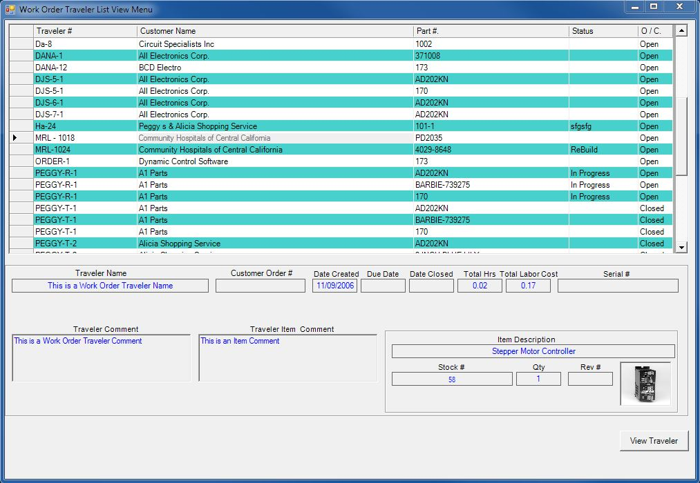Manufacturing Work Order Traveler List View