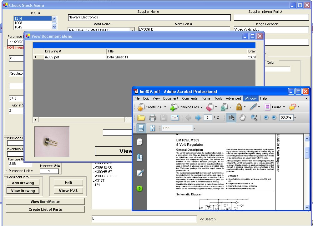 Inventory Attach Drawings Software
